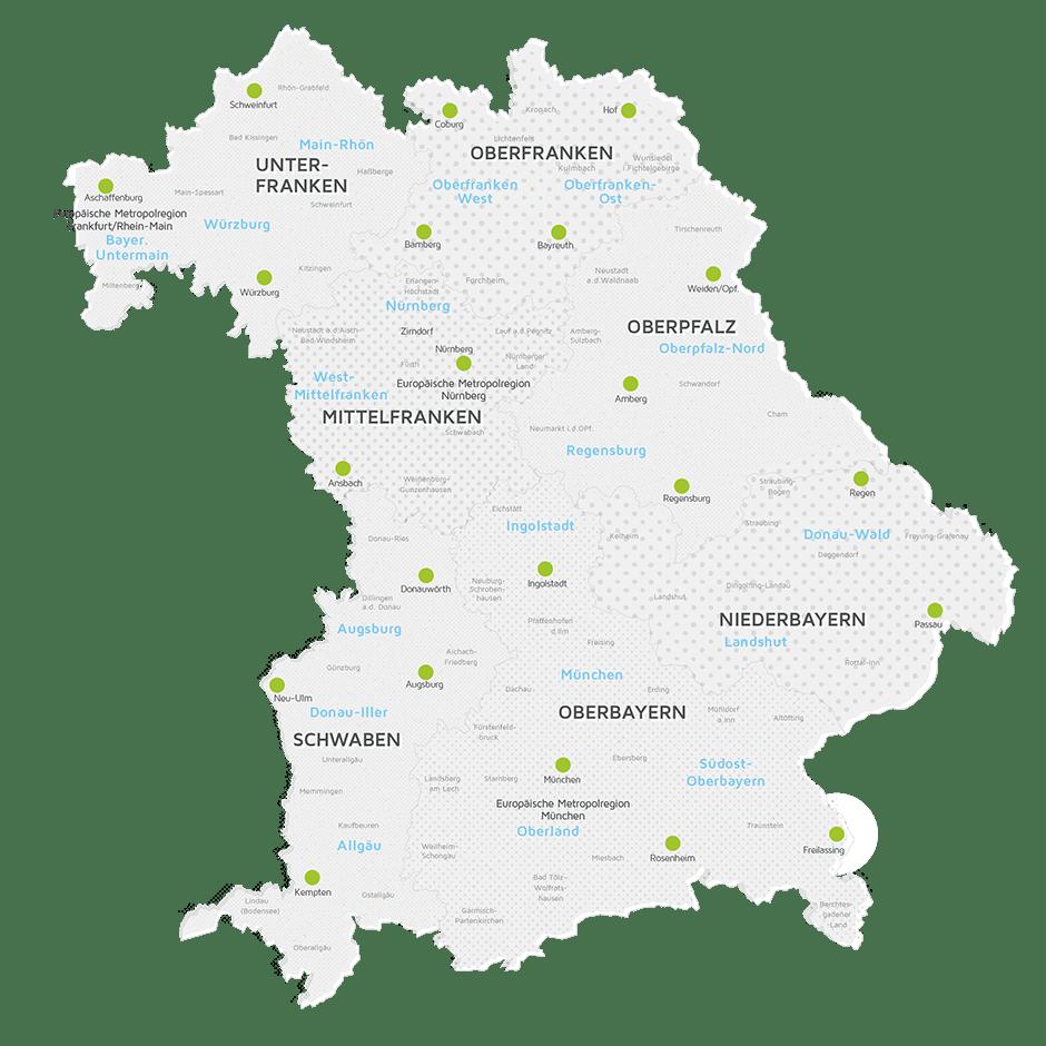 Karte der Regierungsbezirke von Bayern